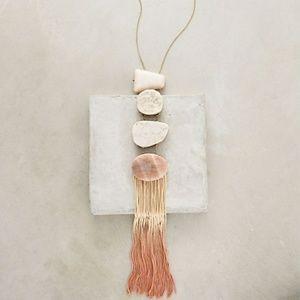 Anthropologie Orange Stone Tassel Necklace